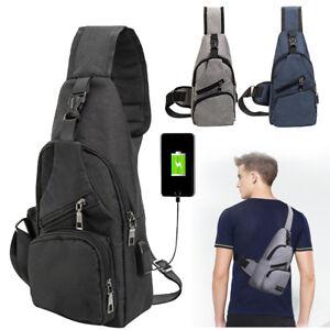 Sac-a-Dos-Poitrine-USB-Port-Etanche-Bandouliere-Sacoche-Homme-Antivol
