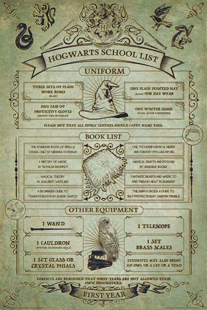 Harry Potter Poster Hogwarts School List 61x91.5cm