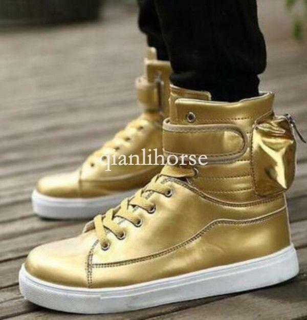 Mens High Tops Ankle Boots Lace Up Trainers Winter shoes Sneakers gold  New SHoe