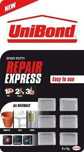6x 5g-llena palos construye /& sellos Masilla Epoxi de alimentación Express de reparación Unibond