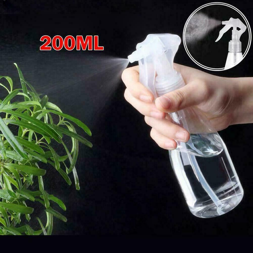 200ml Plastic Clear Spray Bottle Cleaning Water Garden Trigger Empty N1O
