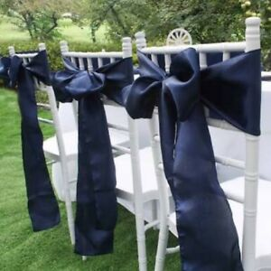 50x navy blue satin chair sashes bow wedding banquet events party