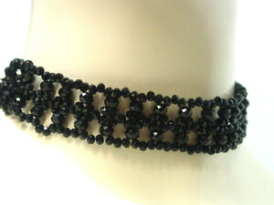 Black-Beaded-Choker-Necklace-Victorian-Vintage-Edwardian-Antique-Gothic-Style