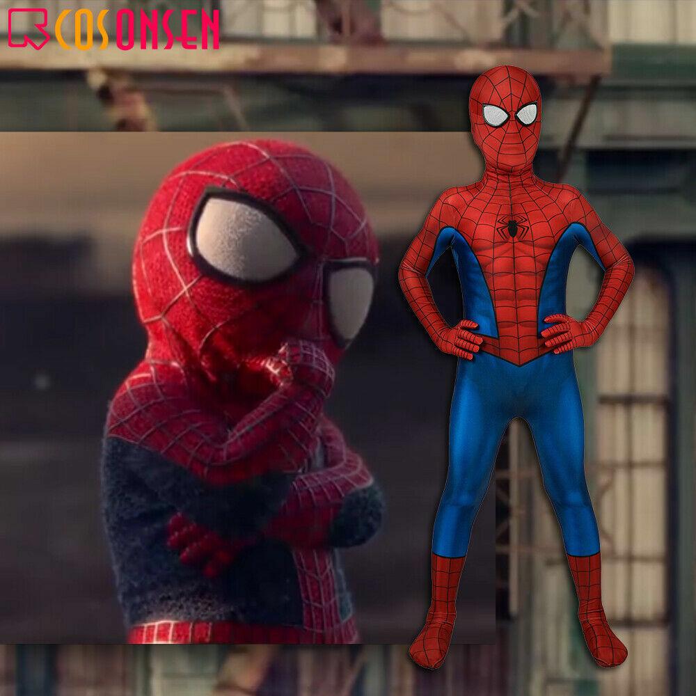 Spiderman PS4 3D Classic Suit Peter Parker Cosplay Costume Kids Jumpsuit Zentai