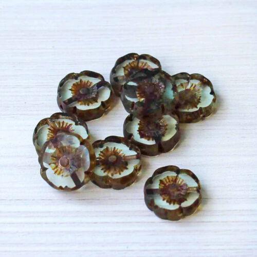 6 Czech Glass Beads 12mm Hawaiian Pansy Flower Pale Blue Tones CB041