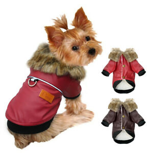 Pet-Puppy-Dog-Leather-Coat-Waterproof-Warm-Clothes-Fur-Fleece-Jacket-Yorkie-Pug