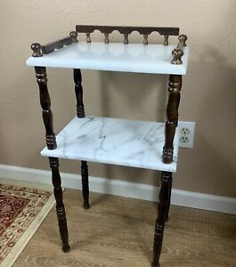 VTG-Side-Table-Marble-amp-Dark-Wood-Two-Tier-Spindle-Legs-Telephone-Nightstand-End