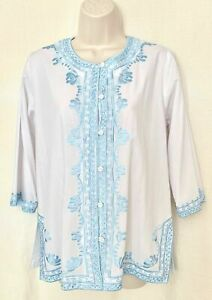 White-Cotton-Mix-3-4-Sleeve-Shirt-Blouse-Button-Top-With-Blue-Embroidery-Size-12