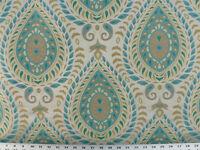 Drapery Upholstery Fabric Jacquard Teardrop - Turquoise, Lemon, Taupe On Beige