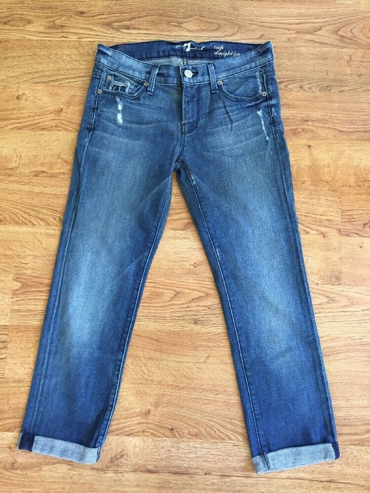 7 For All Mankind Distressed Med Wash Crop Straight Leg Cuffed Stretch Jeans 25