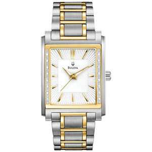 bulova men 039 s 98e111 diamond case two tone stainless steel watch image is loading bulova men 039 s 98e111 diamond case two