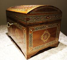 Schatztruhe Holzmosaik Schmuckkasten Handkraft mit Perlmutt Damaskunst K 3-6-42