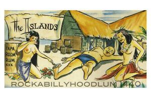 Tiki-Poster-11x17-The-Islands-Tapa-Dormitorio-Rum-BAR-594ms-Polinesio