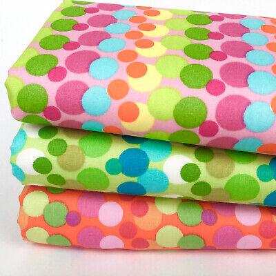 Per 1//4 Metre Makower Patchwork Fabric Uptown Rainbow Bubbles Grey