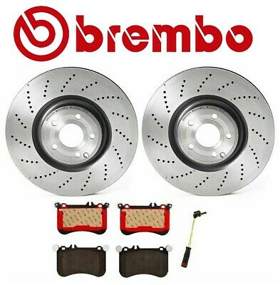 For Mercedes W218 CLS550 Pair Set of 2 Front X-Drilled Disc Brake Rotors Brembo