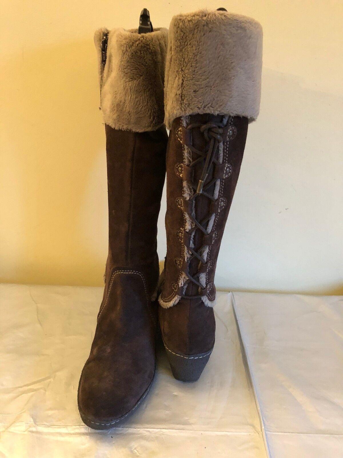 EPISODE Größe Braun Suede Stiefel with Faux Fur Trim Größe EPISODE UK 6 EU39 Very Good Used Cond e4918c