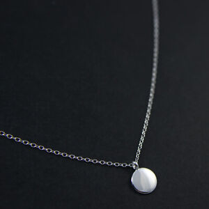 GENUINE-925-Sterling-Silver-Polished-Finish-Plain-Disc-Delicate-Necklace-UK-New