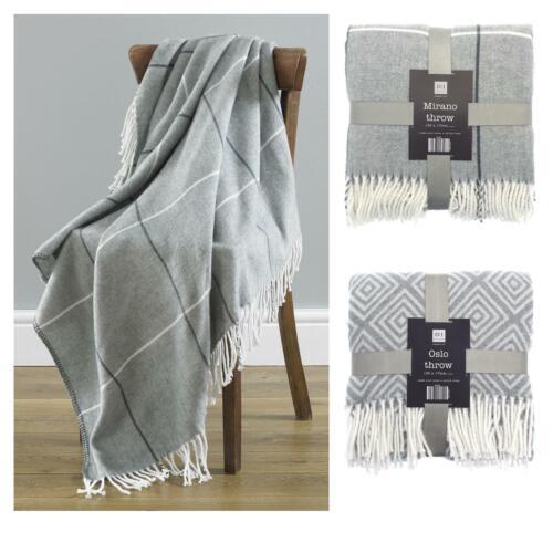 Country Club Throw Soft Fabric Twist Fringe Stylish Grey Designs 130x170cm