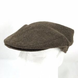 Vintage Brown Wool Newsboy Cabbie Flat Cap Hat Made In the USA ... d4b38e9b84bf