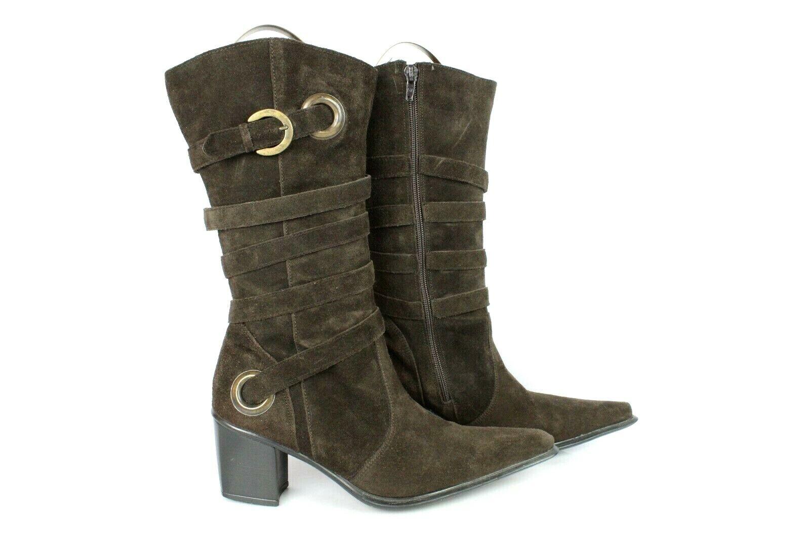 Mi Stiefel Stiefletten Kabel braunes Wildleder T 40 UK 6.5 sehr guter Zustand