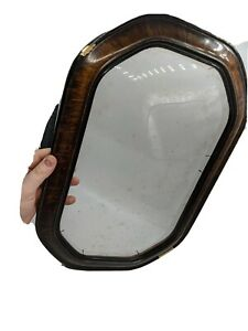 ANTIQUE-GESSO-PICTURE-FRAME-CONVEX-GLASS-OVAL-FAUX-TIGER-WOOD-VTG-15x9-5-19x12