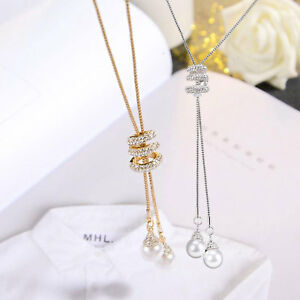 Women-Long-Tassel-Pearl-Flower-Crystal-Pendant-Necklace-Chain-Sweater-Jewelry