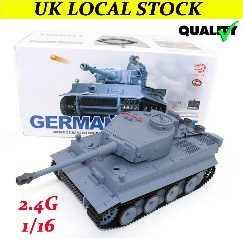 1 16 RC Battle Tank Heng Long 3818-1 2.4Ghz Germany Tiger I Smoke Battle Tank UK