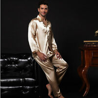 NWT 2PCS Mens Silk Satin Pajamas Sleepwear Pyjamas PJS Long Sleeve M009 M L
