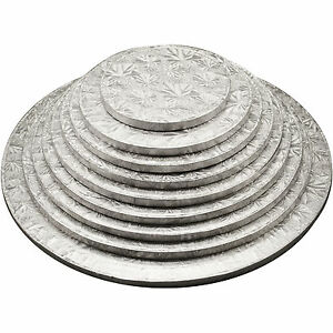 Round-Cake-Drum-Silver-Boards-12mm-Strong-Base-6-16-inches-Free-Delivery