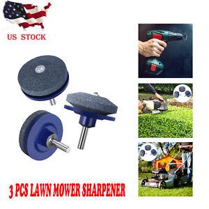3Pcs Lawn Mower Faster Blade Sharpener Grinding Power Drill Garden Tool US