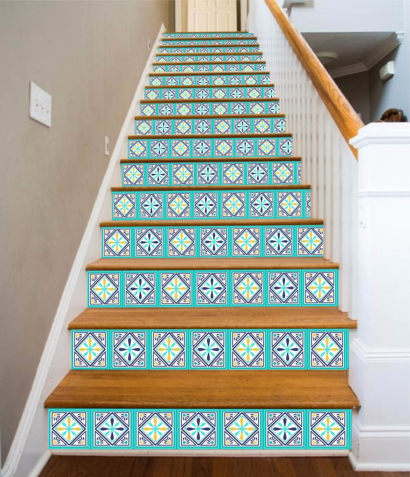 3D Gitter 433 Stair Risers Dekoration Fototapete Vinyl Aufkleber Tapete DE Lemon