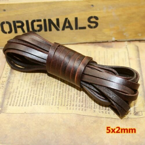 Genuine Leather String Cord Rope Luxury Flat Round Jewelry Bracelet Craft Retro