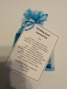 WEDDING GUEST SURVIVAL KIT - WEDDING GIFT / FAVOUR / KEEPSAKE ...