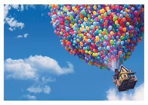 disney up coloured balloons children cartoon poster canvas
