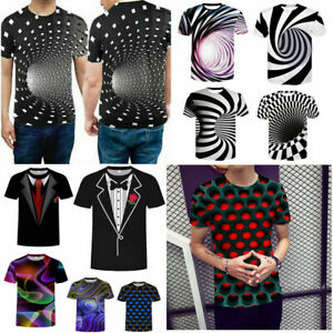 Funny Hypnosis 3D T-Shirt Men//Women Colorful Print Short Sleeve Tee Tops Casual