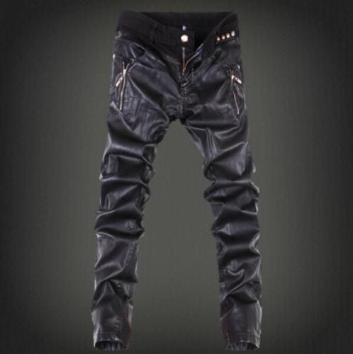 Mens Spring stylish PU Leather Punk Motorcycle Slim Fit Pants Trousers Nightclub