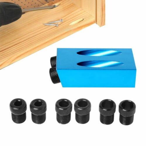 Poche Trou Jig Kit 6//8//10mm 15 ° angle adaptateur Foret Guide Woodworking Adaptateur