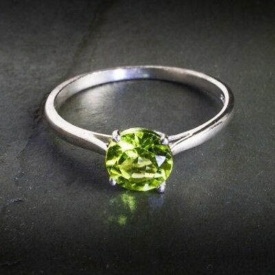 HANDMADE NATURAL PERIDOT 925 STERLING SILVER RING JEWELRY ROUND CUT SIZE US 3-13