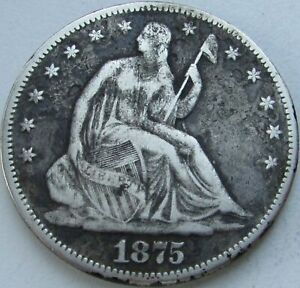 1875-S-Seated-Liberty-Silver-Half-in-a-SAFLIP-VF-Fine-Details