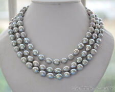 z6093 3strands 12mm NATURE GRAY RICE freshwater pearl necklace 19inch