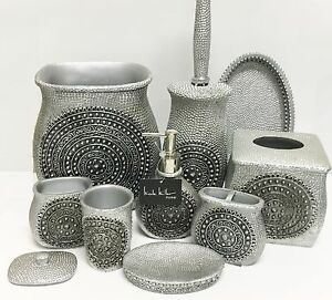 Genial Details About NICOLE MILLER 9 PC SET SILVER RESIN SOAP DISPENSER+DISH+TRASH  CAN+TUMBLER+TRAY+4