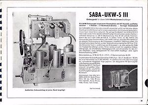 Professioneller Verkauf Service Manual-anleitung Für Saba Ukw-s Iii Baujahr 1952/53 Klar Und GroßArtig In Der Art Anleitungen & Schaltbilder