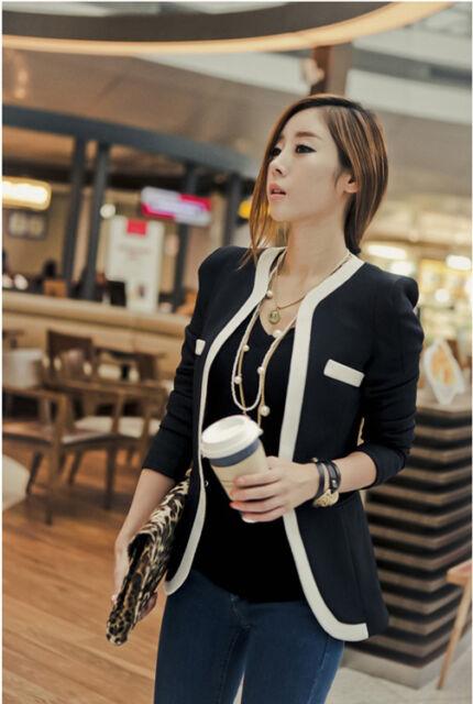 Fashion Women Lady White Black Colors OL Suit Blazer Coat Slim Jacket Outerwear