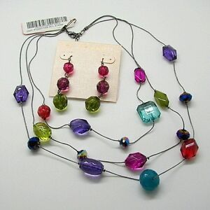 M-Haskell-Triple-Strand-Bright-Bead-Necklace-and-Dangle-Pierced-Earrings-Set-New
