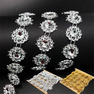 2-Yd-DIY-Rhinestone-Trim-Crystal-Chain-Beaded-Applique-Sew-Iron-on-Bridal-Dress
