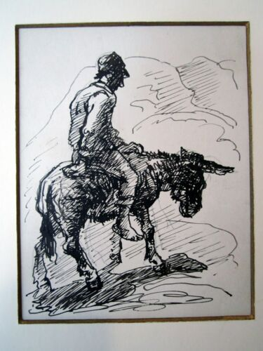 """Donkey Rider"" drawing by Eugene Higgins"