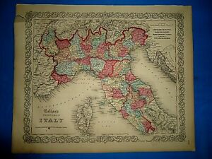 Antique-1857-Colton-Atlas-Map-NORTHERN-ITALY-Old-amp-Original-Free-S-amp-H