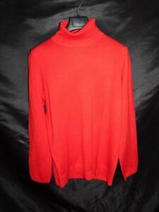 Ann-Taylor-XXL-2X-Red-Merino-Wool-Turtleneck-Sweater-Long-Sleeve-Knit-Shirt-Top