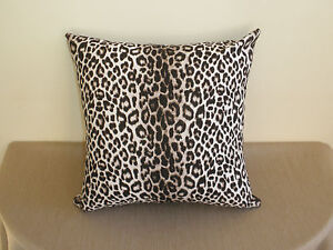 Snow-Leopard-Animal-Print-Brown-Black-White-Decor-Cushion-Cover-45cm-Au-Made
