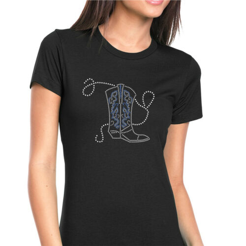 Womens T-Shirt Rhinestone Bling Black Fitted Tee Cowgirl Blue Boot Rope